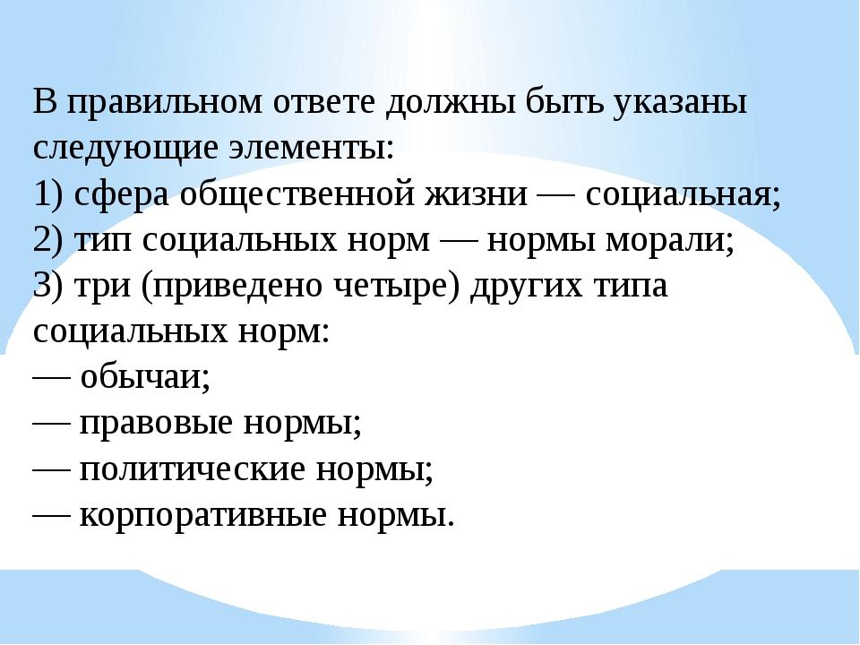 В правильном ответе должны быть указаны следующие элементы: 1) сфера обществе...