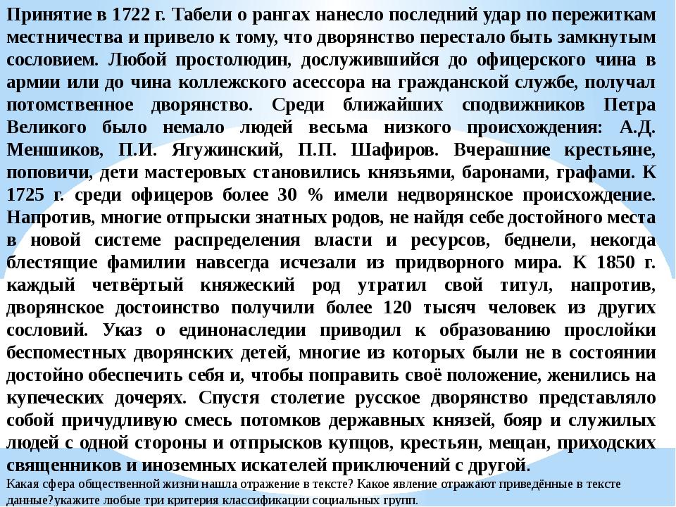 Принятие в 1722 г. Табели о рангах нанесло последний удар по пережиткам местн...