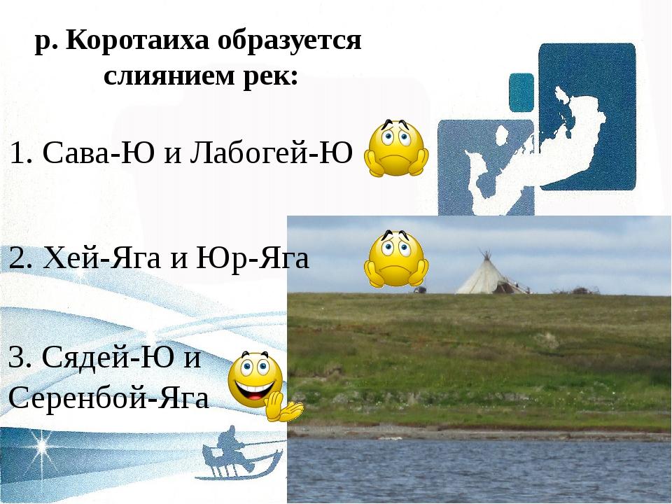 р. Коротаиха образуется слиянием рек: 2. Хей-Яга и Юр-Яга 1. Сава-Ю и Лабогей...