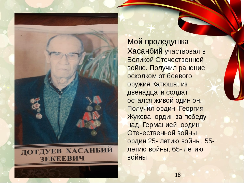 Мой продедушка Хасанбий участвовал в Великой Отечественной войне. Получил ра...