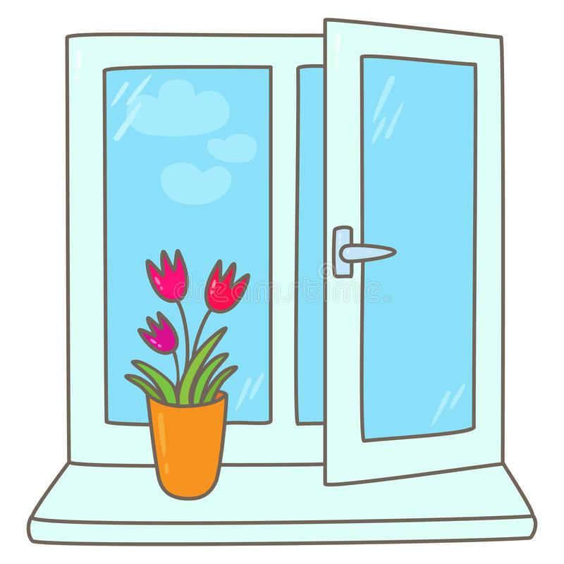 Картинка подоконник с цветами для детей