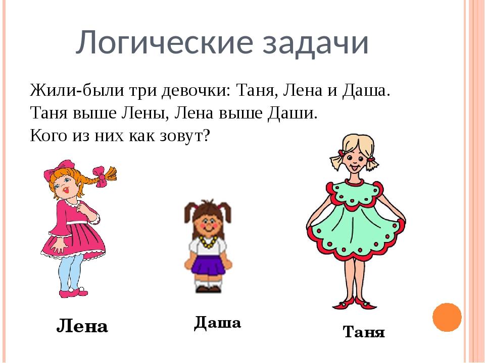 Логические задачи Жили-были три девочки: Таня, Лена и Даша. Таня выше Лены, Л...