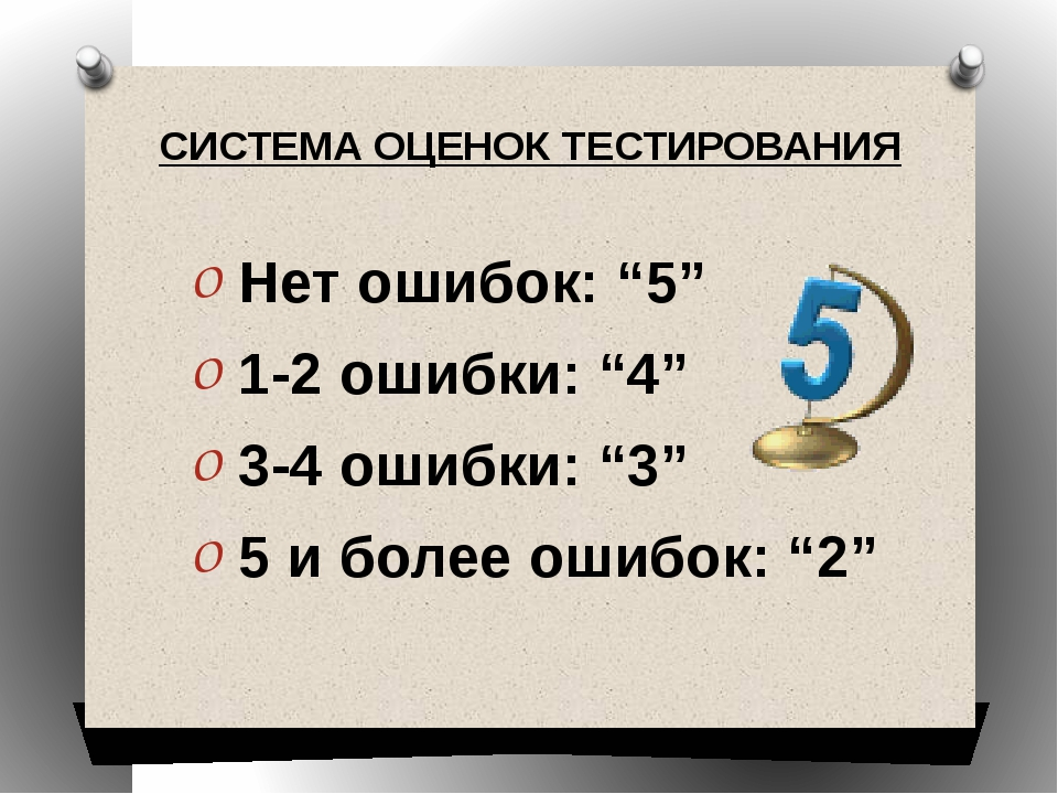 "Нет ошибок: ""5"" 1-2 ошибки: ""4"" 3-4 ошибки: ""3"" 5 и более ошибок: ""2"" СИСТЕМ..."