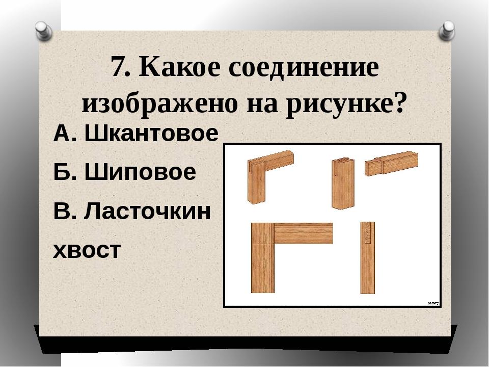 7. Какое соединение изображено на рисунке? А. Шкантовое Б. Шиповое В. Ласточк...