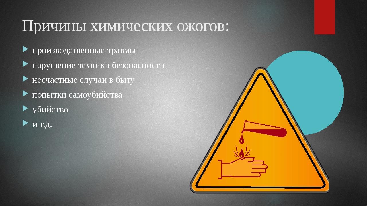 Причины химических ожогов: производственные травмы нарушение техники безопасн...