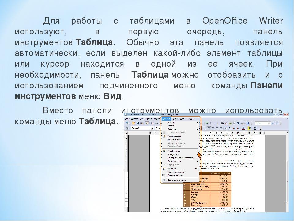 Для работы с таблицами в OpenOffice Writer используют, в первую очередь, пан...
