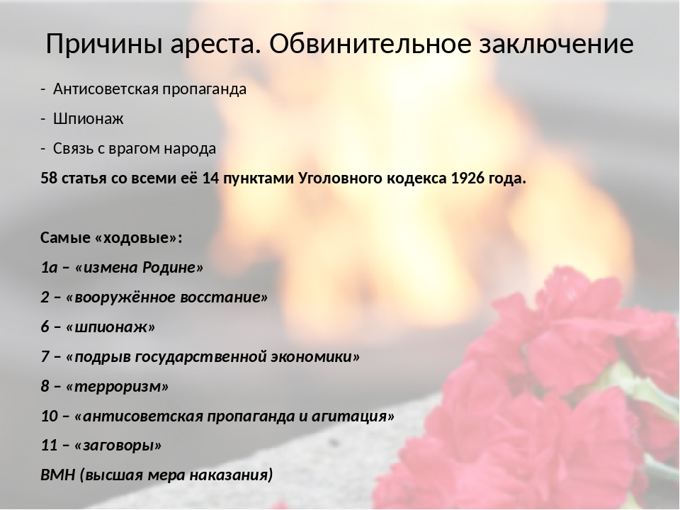 Причины ареста. Обвинительное заключение - Антисоветская пропаганда - Шпионаж...