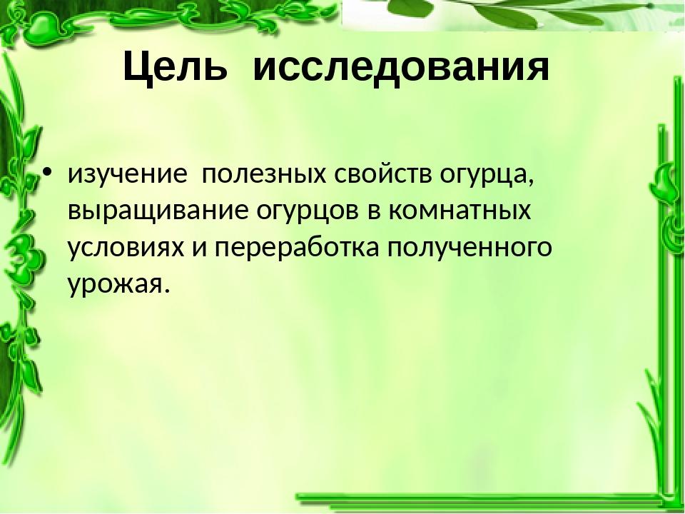 Цель исследования изучение полезных свойств огурца, выращивание огурцов в ком...