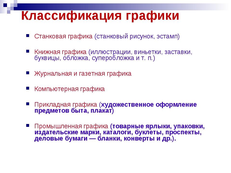 Классификация графики Станковая графика (станковый рисунок, эстамп) Книжная г...