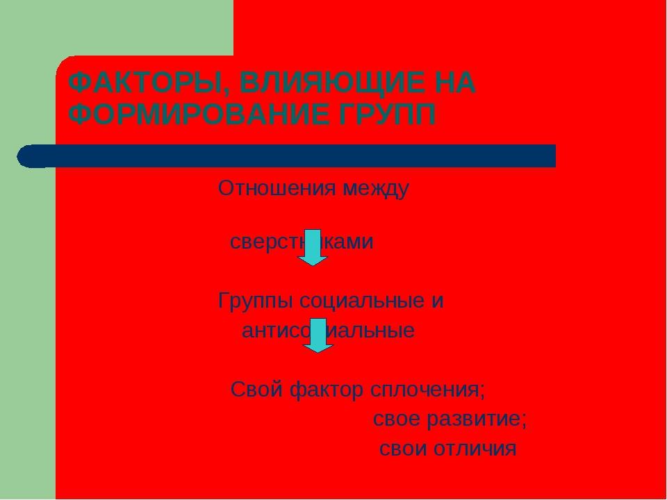 ФАКТОРЫ, ВЛИЯЮЩИЕ НА ФОРМИРОВАНИЕ ГРУПП Отношения между сверстниками Группы с...