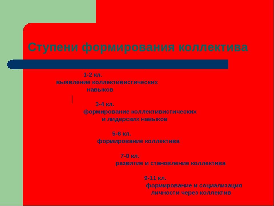 Ступени формирования коллектива 1-2 кл. выявление коллективистических навыков...