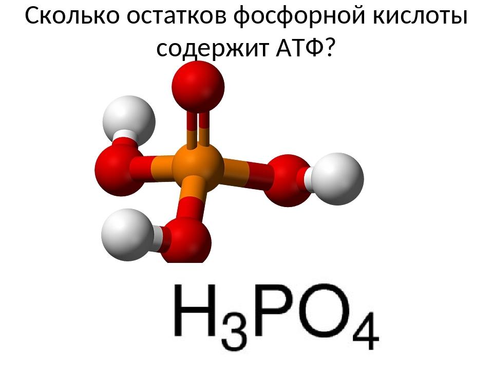 Сколько остатков фосфорной кислоты содержит АТФ?