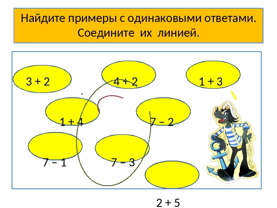Найдите примеры с одинаковыми ответами. Соедините их линией. 3 + 2 4 + 2 1 +...