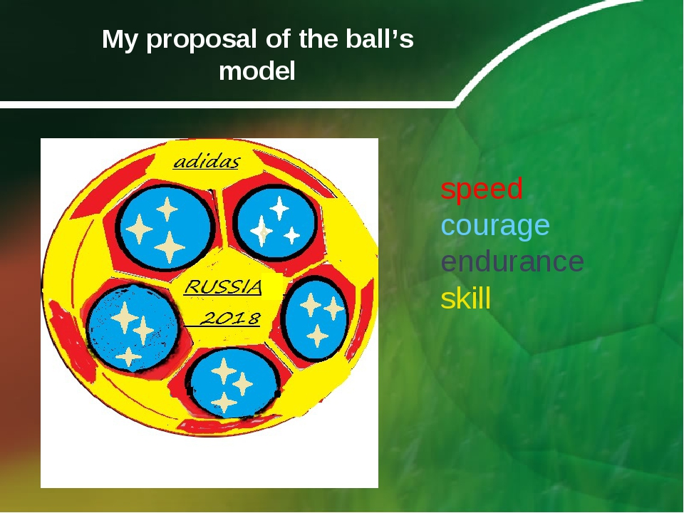 My proposal of the ball's model speed courage endurance skill