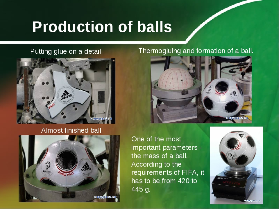 Production of balls Putting glue on a detail. Thermogluing and formation of a...