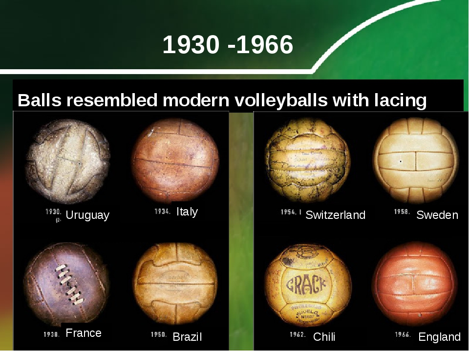 1930 -1966 Balls resembled modern volleyballs with lacing Uruguay Italy Franc...