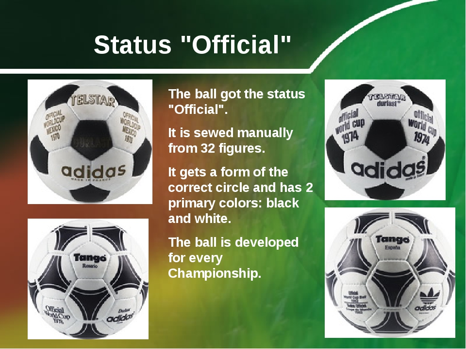 """Status """"Official"""" The ball got the status """"Official"""". It is sewed manually fr..."""