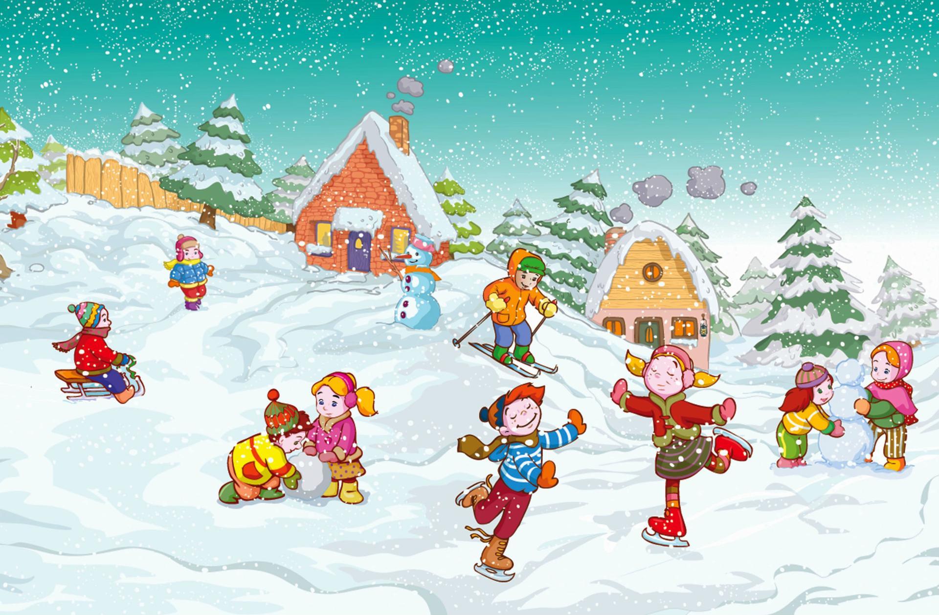 Нарисованные картинки для детей зима