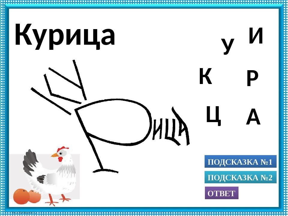 ПОДСКАЗКА №1 ОТВЕТ ПОДСКАЗКА №2 А Р У К Ц И Курица Использованы рисунки из кн...