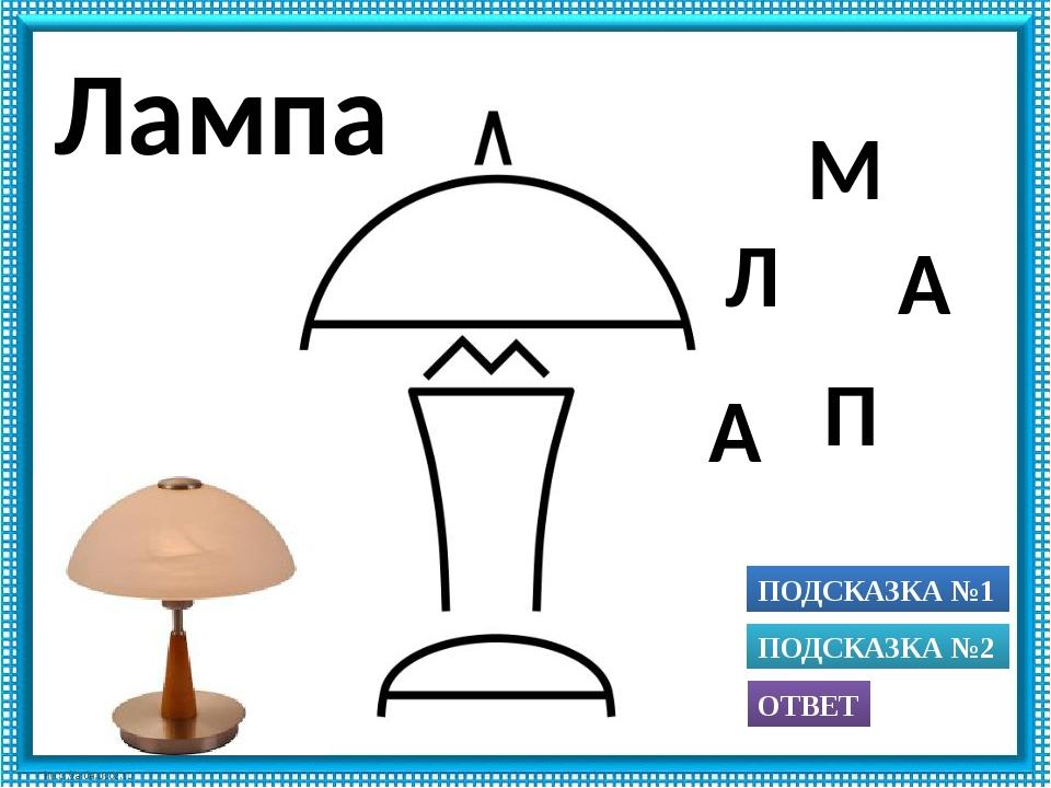 ПОДСКАЗКА №1 ОТВЕТ ПОДСКАЗКА №2 П А М Л А Лампа Использованы рисунки из книги...