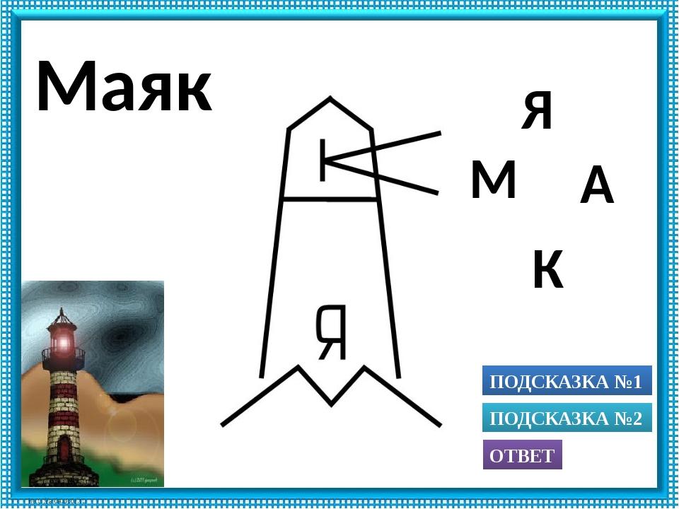 ПОДСКАЗКА №1 ОТВЕТ ПОДСКАЗКА №2 К А Я М Маяк Использованы рисунки из книги А....