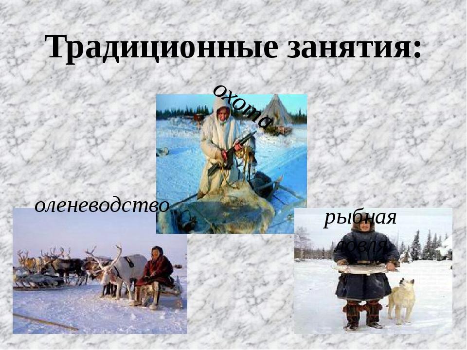 Традиционные занятия: охота оленеводство рыбная ловля