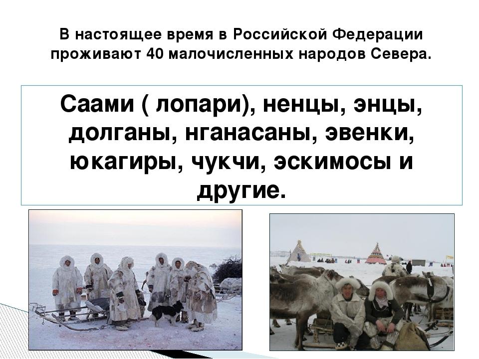 В настоящее время в Российской Федерации проживают 40 малочисленных народов С...