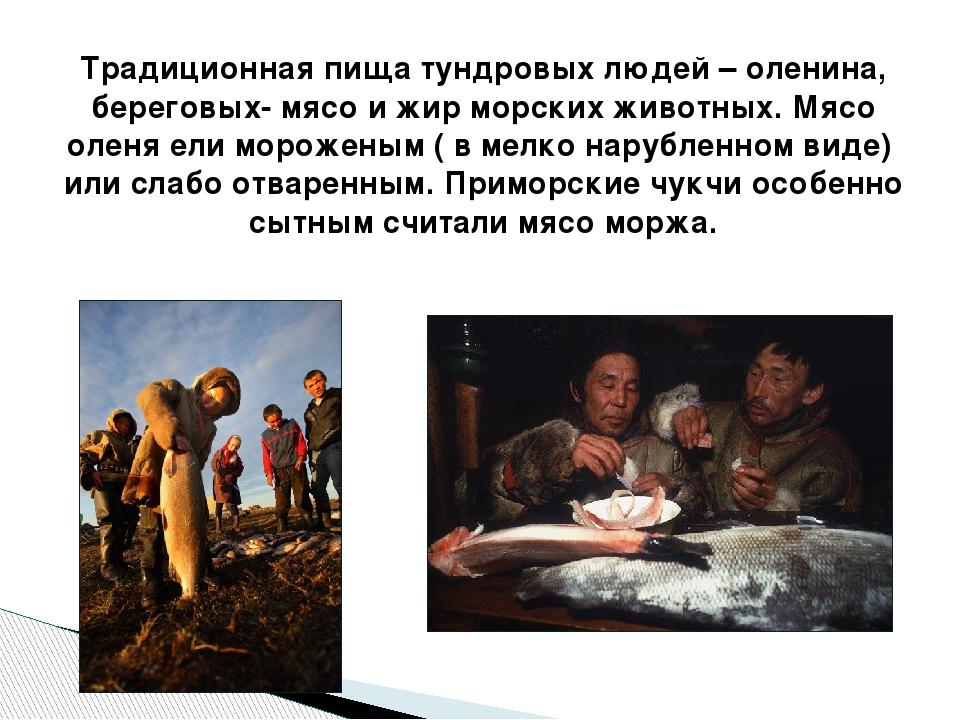 Традиционная пища тундровых людей – оленина, береговых- мясо и жир морских жи...