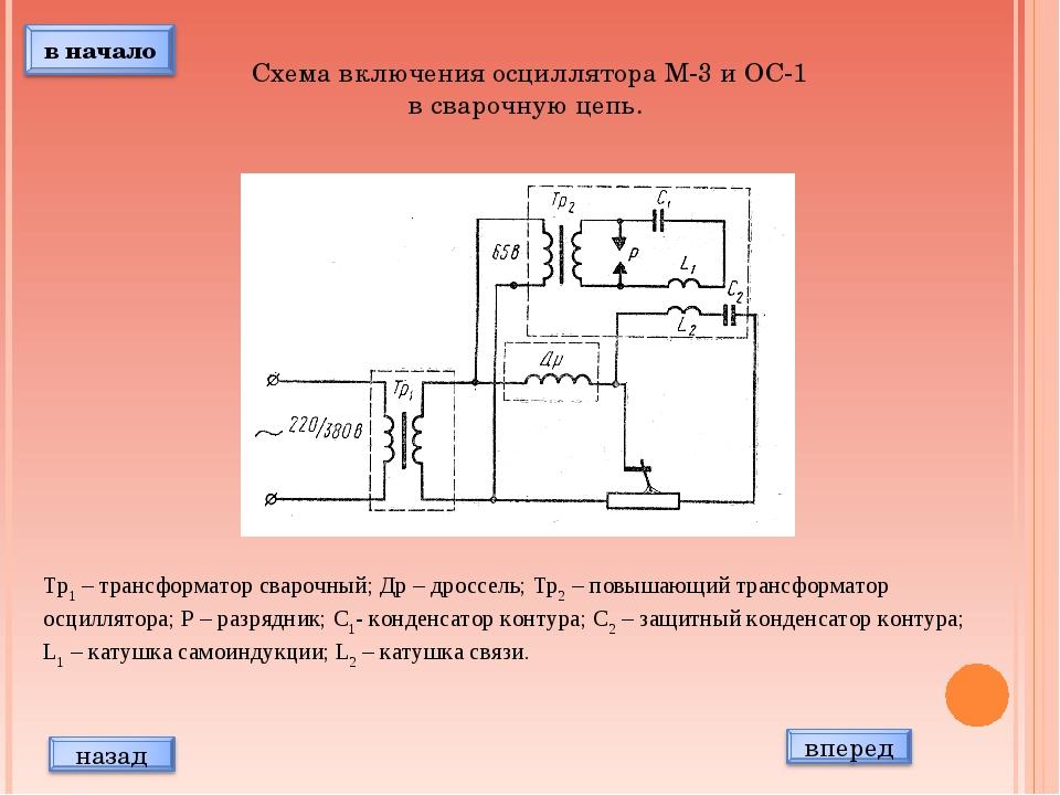 Схема включения осциллятора М-3 и ОС-1 в сварочную цепь. Тр1 – трансформатор...