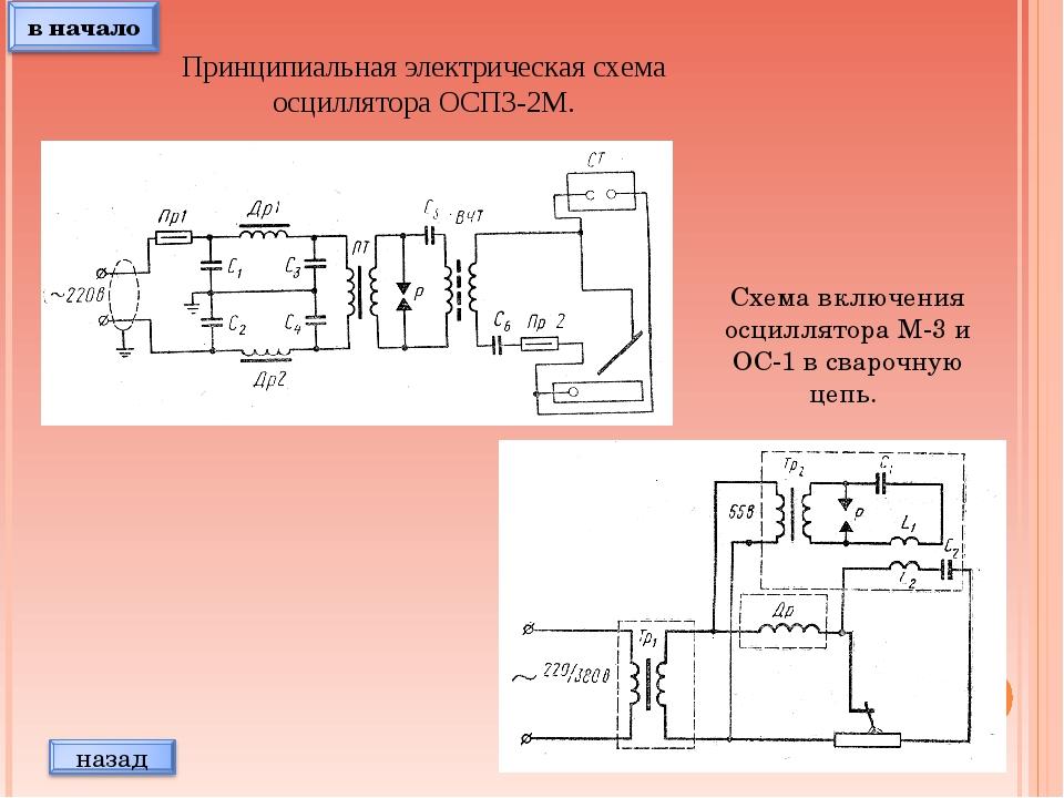 Принципиальная электрическая схема осциллятора ОСП3-2М. Схема включения осцил...