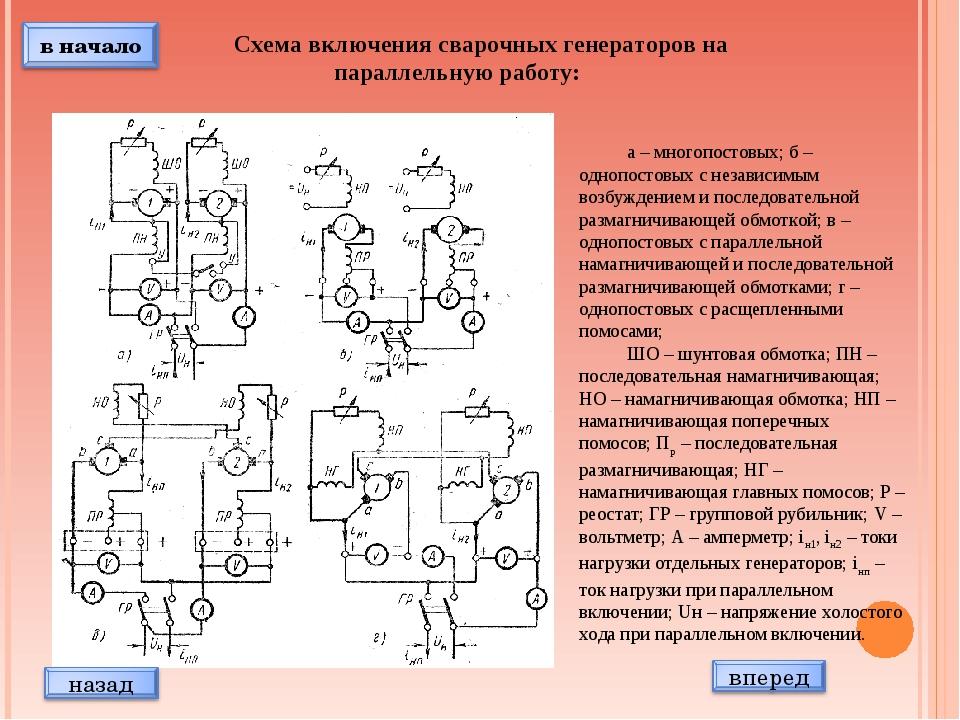 Схема включения сварочных генераторов на параллельную работу: а – многопостов...