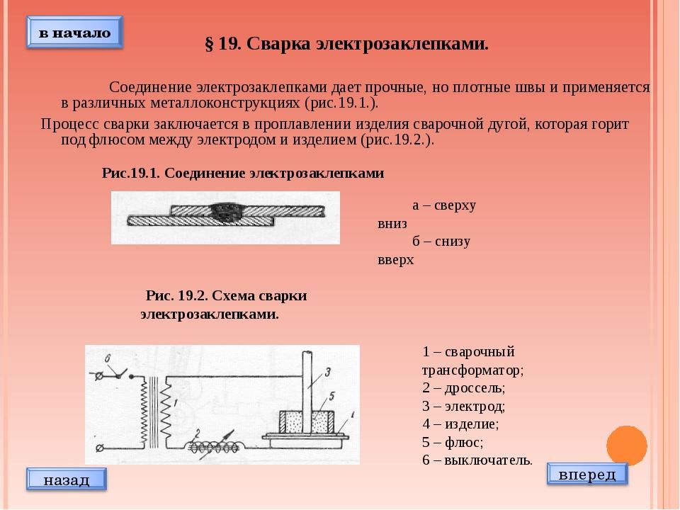 § 19. Сварка электрозаклепками.  Соединение электрозаклепками дает прочные...