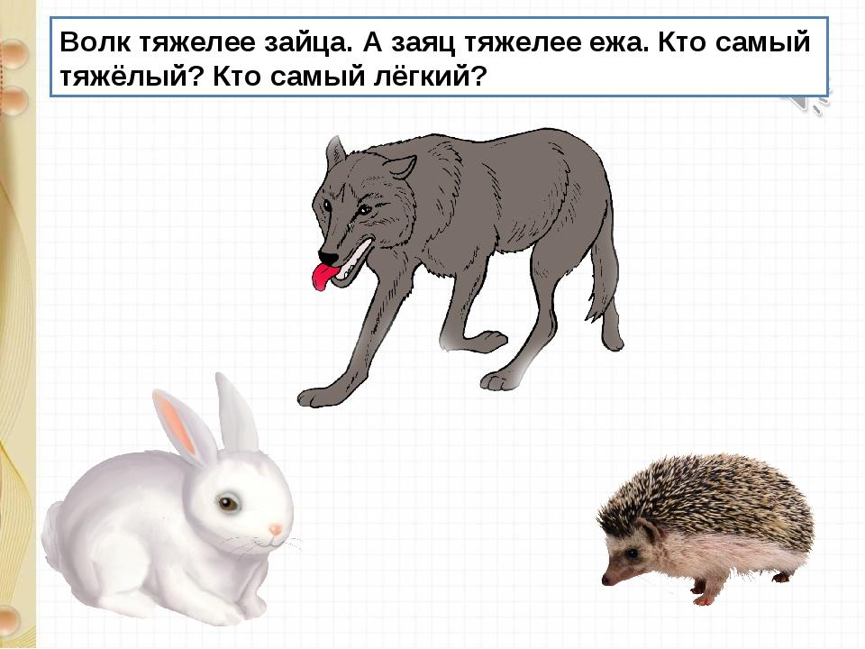 Волк тяжелее зайца. А заяц тяжелее ежа. Кто самый тяжёлый? Кто самый лёгкий?