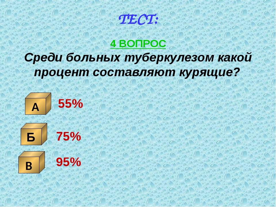 ТЕСТ: 4 ВОПРОС Среди больных туберкулезом какой процент составляют курящие? Б...