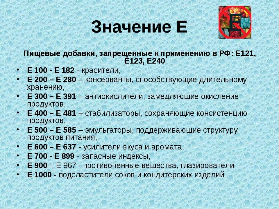 Значение Е Пищевые добавки, запрещенные к применению в РФ: E121, E123, E240 Е...