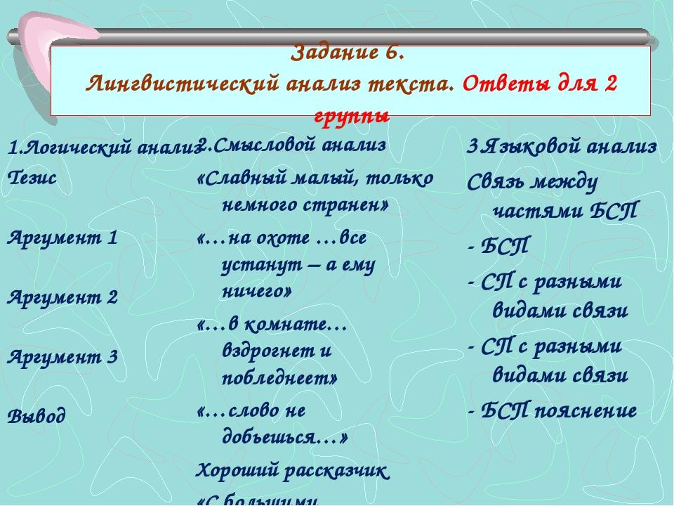 Задание 6. Лингвистический анализ текста. Ответы для 2 группы 1.Логический ан...