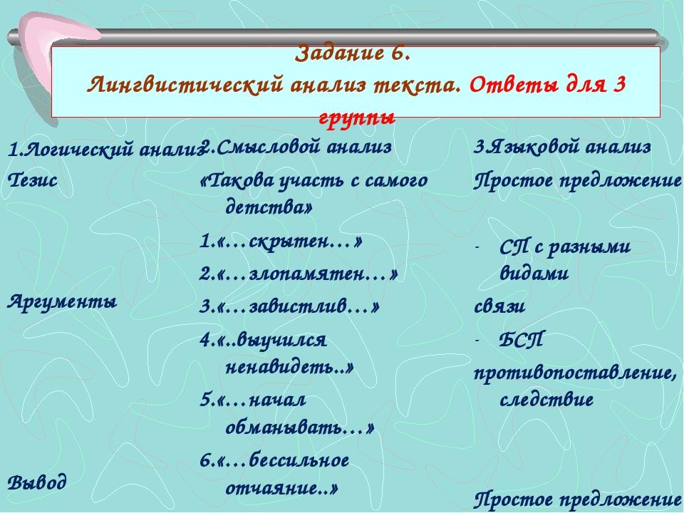 Задание 6. Лингвистический анализ текста. Ответы для 3 группы 1.Логический ан...