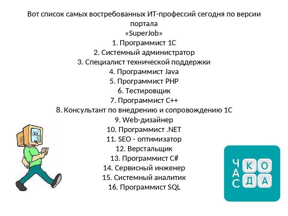 Вот список самых востребованных ИТ-профессий сегодня по версии портала «Supe...
