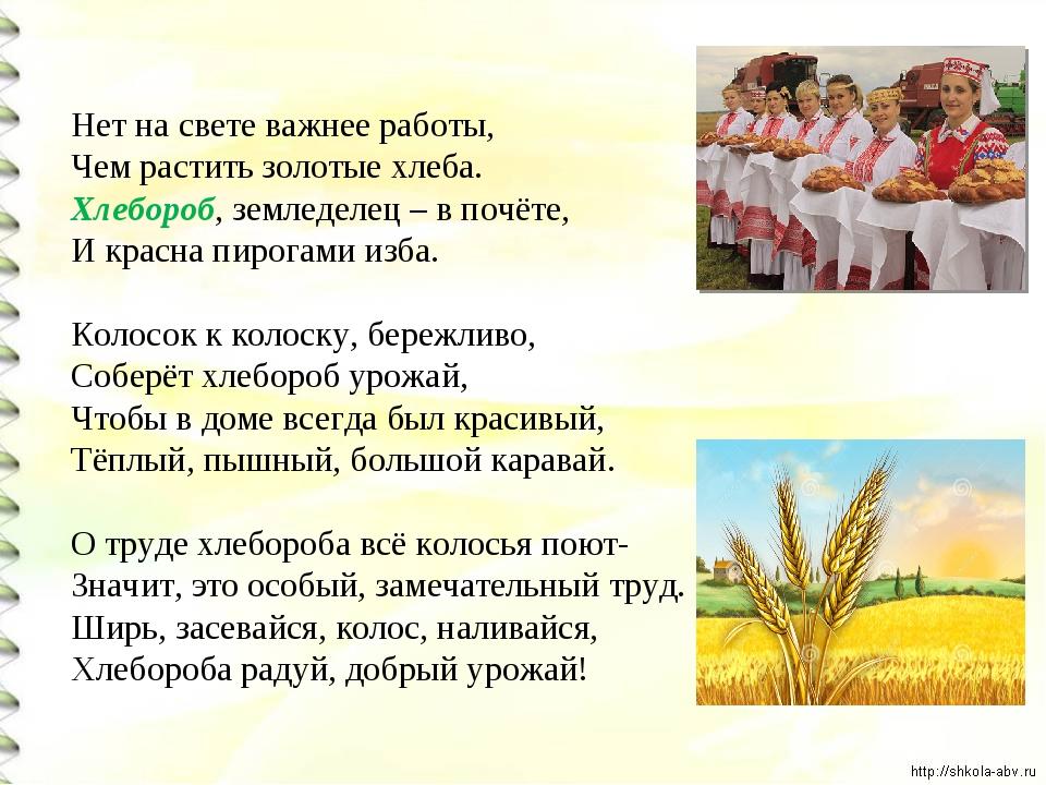 Нет на свете важнее работы, Чем растить золотые хлеба. Хлебороб, земледелец–...