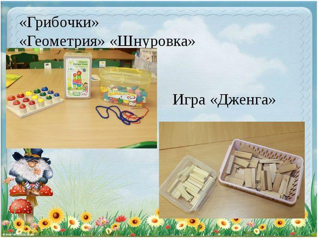 «Грибочки» «Геометрия» «Шнуровка» Игра «Дженга»