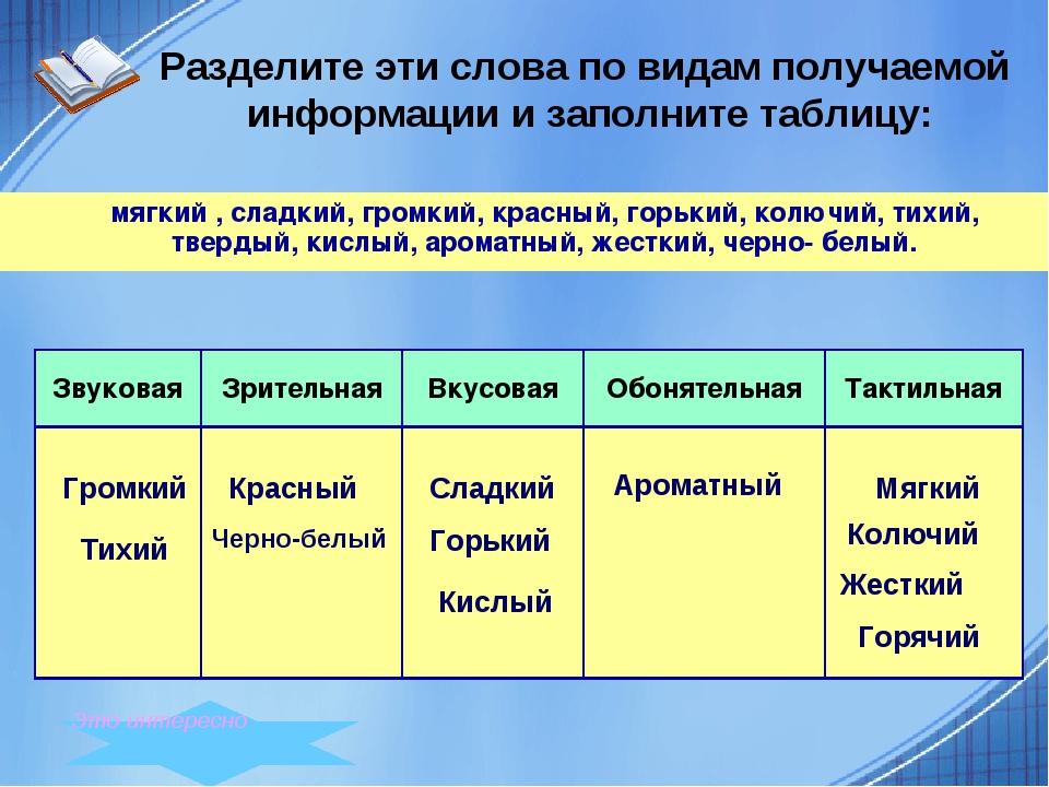 Разделите эти слова по видам получаемой информации и заполните таблицу: мягк...