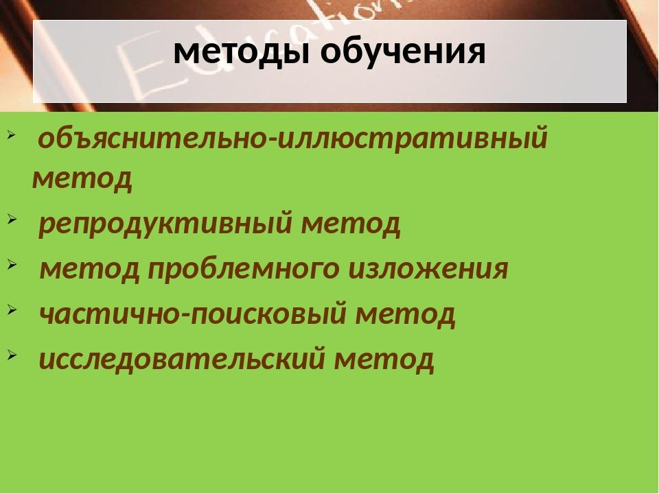 методы обучения объяснительно-иллюстративный метод репродуктивный метод метод...