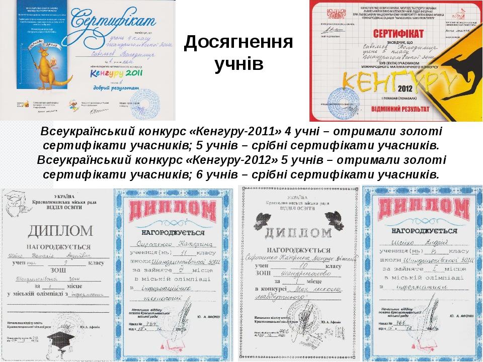 Досягнення учнів Всеукраїнський конкурс «Кенгуру-2011» 4 учні – отримали золо...