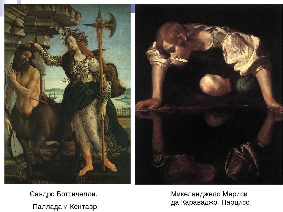 Сандро Боттичелли. Паллада и Кентавр Микеланджело Мериси да Караваджо. Нарцисс.