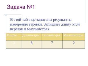 Задача №1 В этой таблице записаны результаты измерения веревки. Запишите длин