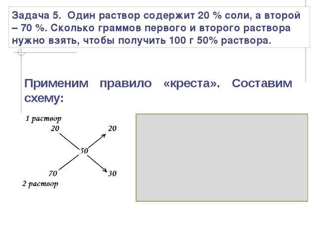 Задача 5. Один раствор содержит 20 % соли, а второй – 70 %. Сколько граммов п...