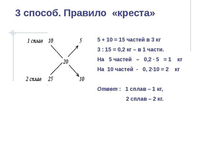 3 способ. Правило «креста» 5 + 10 = 15 частей в 3 кг 3 : 15 = 0,2 кг – в 1 ча...