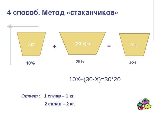 30 кг (30-x)кг Хкг + = 10% 25% 20% 10Х+(30-Х)=30*20 Ответ : 1 сплав – 1 кг, 2...