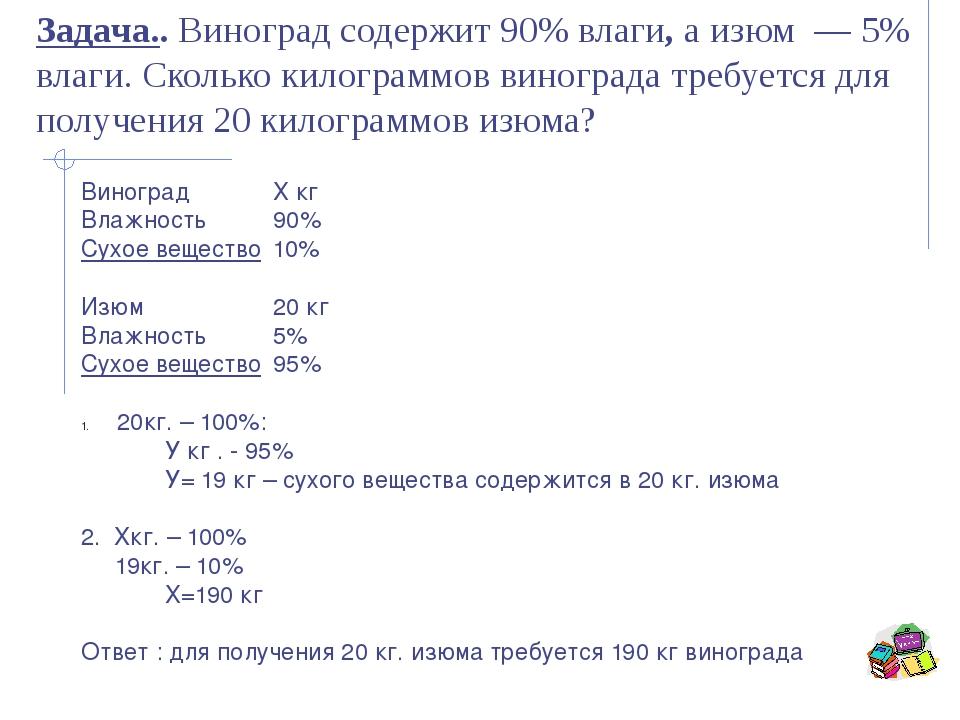 ВиноградХ кг Влажность 90% Сухое вещество10% Изюм20 кг Влажность5%...