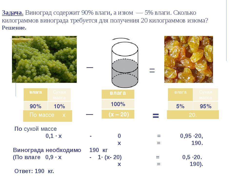 Задача. Виноград содержит 90% влаги, а изюм — 5% влаги. Сколько килограммов...